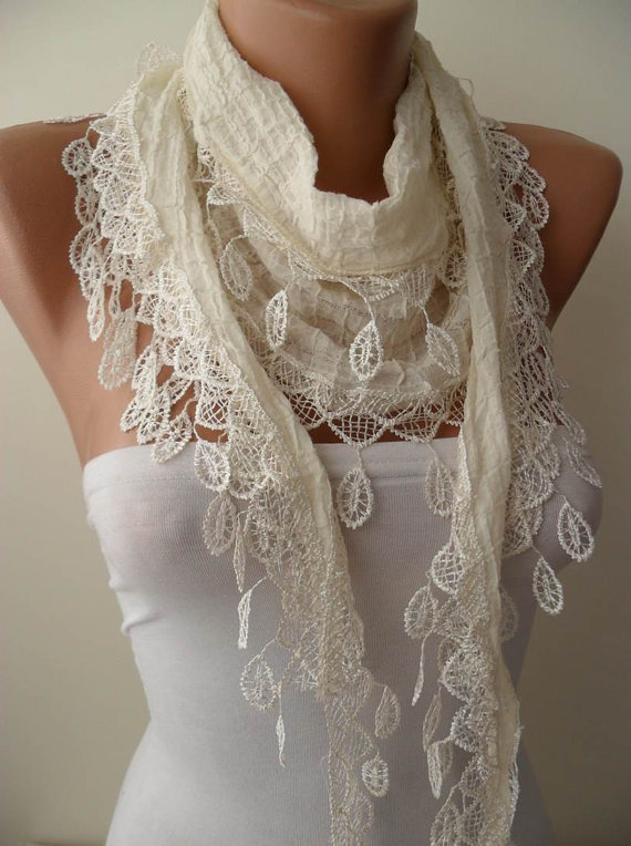 Creamy White Cotton and Summer Scarf with Cream Trim Edge