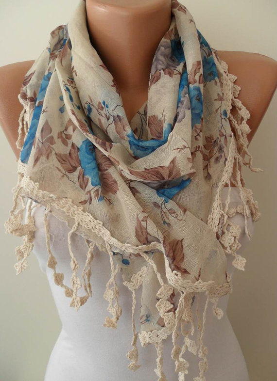 Blue and Beige Linen Scarf with Trim Edge - Vintage Style