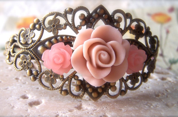 Flower Cuff Bracelet, Pink Resin Roses, Filigree Bracelet, Shabby Chic, Tea Rose, Vintage Style Brass Bangle
