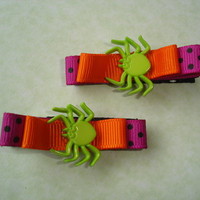 Handmade Halloween Hair Barrettes - green orange purple spider with bow hair clip