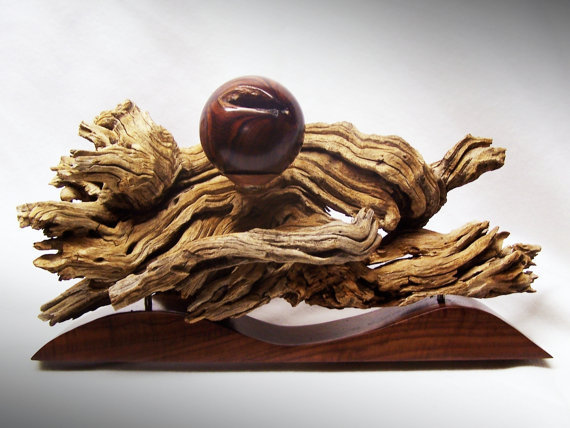 Rustic Wood Sculpture with Ironwood sphere - Art by TheArtistTerand