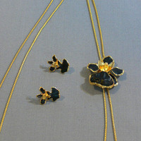 Vintage - Risis Black Orchid Lariat Necklace - FS-236