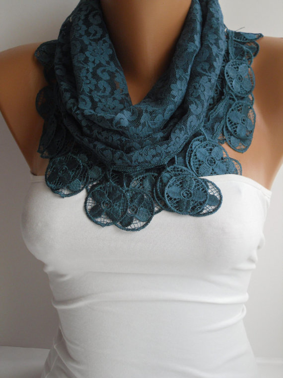 Dark Teal Blue Lace Scarf- Shawl Headband - Cowl with Lace Edge