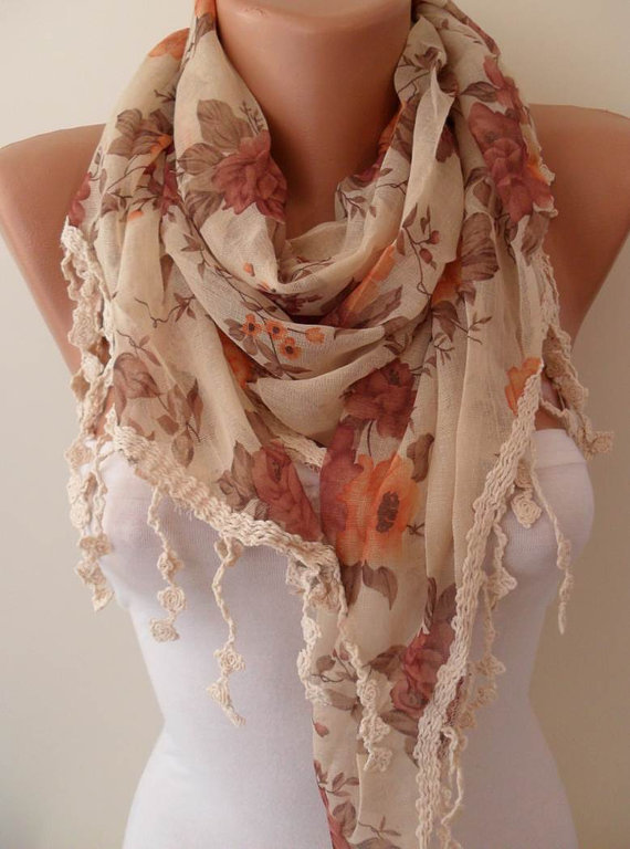 Vintage Style - Linen Scarf with Beige Trim Edge - Summer Trend