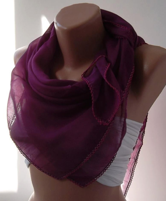 Boysenberry Shawl with Lace - Turkish Shawl - Anatolians Scarf