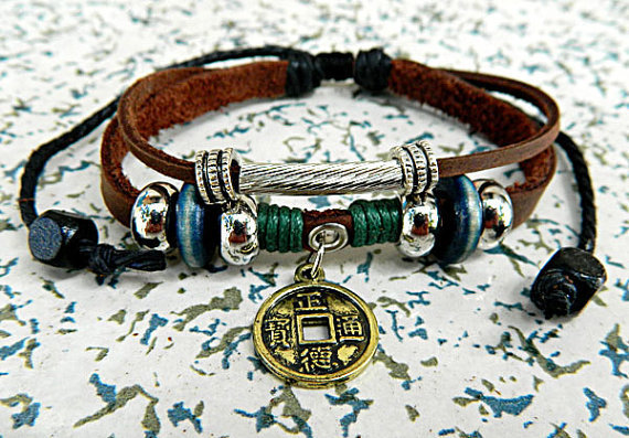 Ancient coins  bracelet Jewelry  Bangle bracelet  minimalist bracelet Gold Anchor bracelet  Men or Women  Soft Leather Bracelet