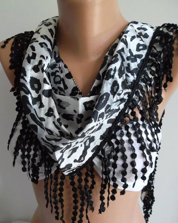 Elegance  Shawl / Scarf with Lacy Edge/ leopard