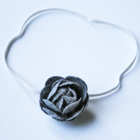 Gray Wool Felt Flower Headband