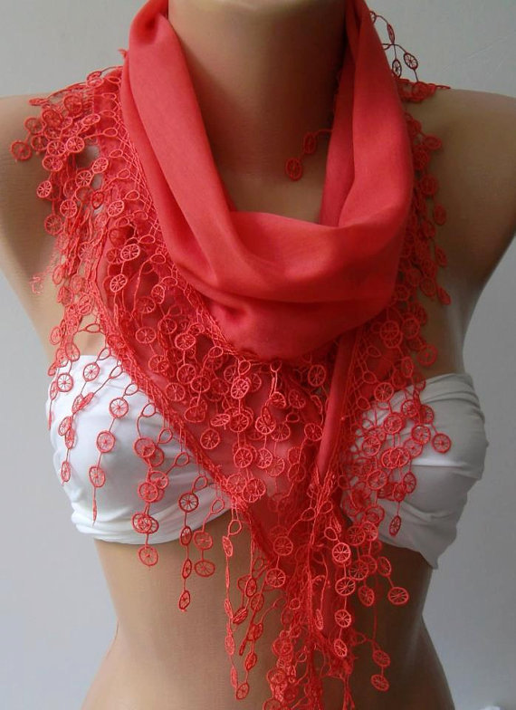 pomegranate flower / cotton shawl/Elegant Shawl - Scarf with Lace Edge