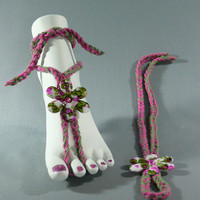 Foot Thongs-Crochet-Jewelry-Bohemian-Barefoot Sandals-Anklets   FS-191