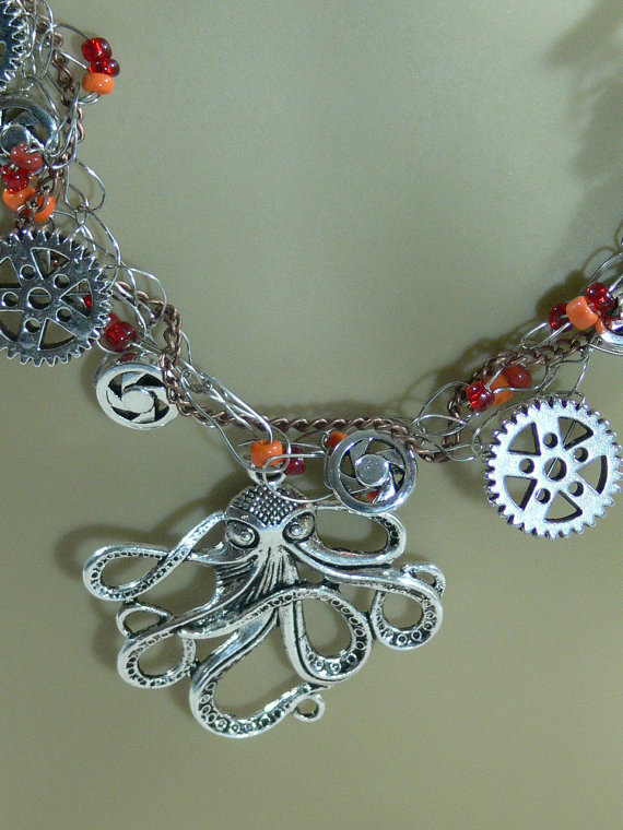 Sale - Steam Punk Crocheted Wire, Chain & Glass Bead Necklace - FS-056