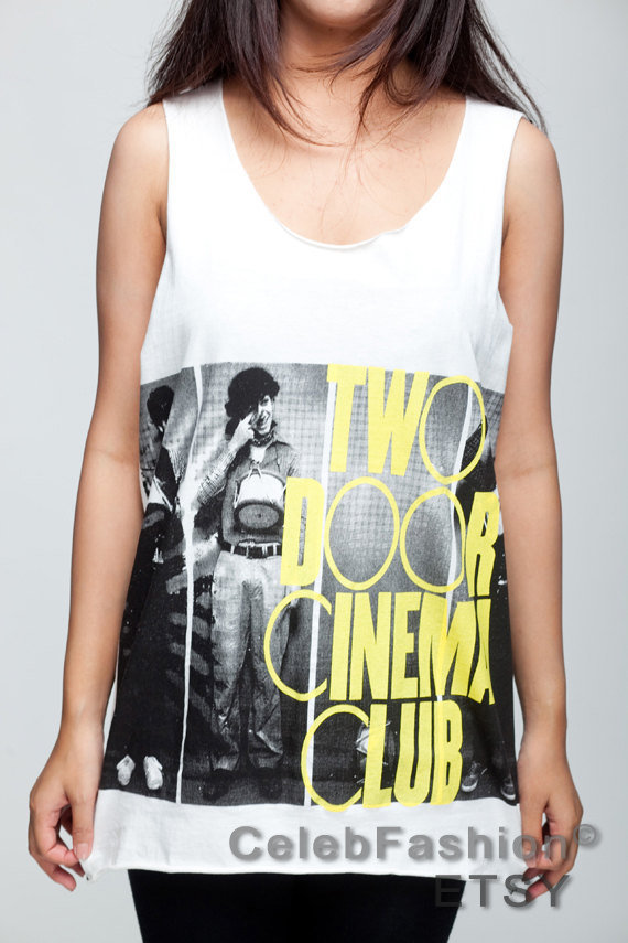 Two Door Cinema Club T Shirt Indie Rock Band Women White T-Shirt Vest Tank Top Singlet Sleeveless Size M L
