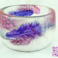 Purple and Pink Feather Resin Bangle by kelliechristie on Etsy
