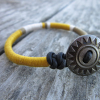 The Nuna Friendship Bracelet - In Mustard, olive, and ecru
