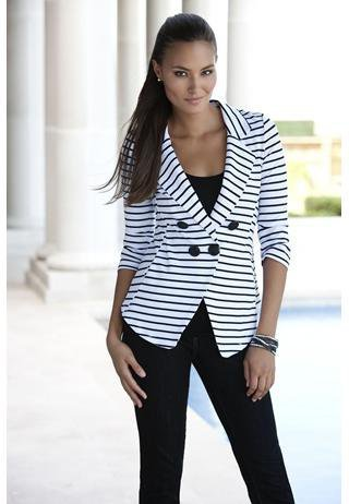 WHITE AND BLACK STRIPED JACKET