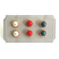 London Olympic Earrings - Red, White, Blue Studs - Set of Three Pairs
