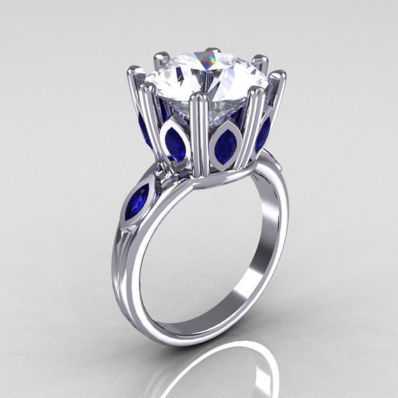Classic 10K White Gold Marquise Blue Sapphire 5.0 CT Round Zirconia Solitaire Ring R160-10KWGCZBS
