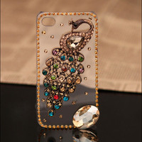 Gullei Trustmart : iPhone 4S 4G 3GS peacock case colorful rhinestones clear cover [GTMSP0152] - $29.00 - Couple Gifts, Cool USB Drives, Stylish iPad/iPod/iPhone Cases & Home Decor Ideas