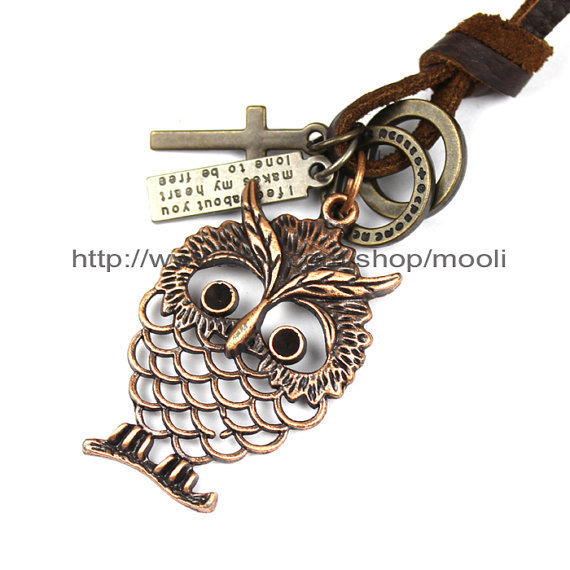 Fashion Necklace Jewelry Real Leather Necklace Vintage Owl Pendant Necklace and Cross Ring Pendant Necklace