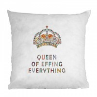 Bianca Green Her Daily Motivation Throw Pillow - features a queen's crown with a playful saying 'Queen of Effing Everything'