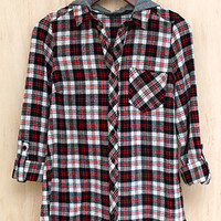 Multitasking Flannel Plaid Shirt, Black (Detachable Hood)