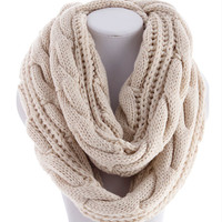cozy soft cable knit infinity scarf , ivory