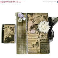 CIJ SALE 15% Off Altered Composition Book Set - Vintage Scrapbook Journal Gift Set Collage Cottage Chic Hollywood Regency - Christmas In Ju