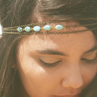 Chain Headband Headpiece Bohemian Hipster Boho Hippie Bronze Three Strand Turquoise Bridal Statement Jewelry Single Strand