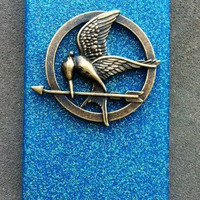Blue Hunger Games Mockingjay Glitter iPhone 4 4s hard cover case