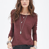 FOREVER 21 Loose-Knit Top Burgundy