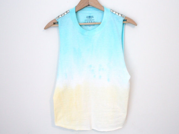 Studded Tank - dip dye blue and yellow