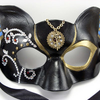 Steampunk Egyptian Masquerade Compact Leather Cat Goddess Mask Cosplay Priestess LARP Costume