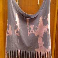 One of a kind Destroy bleached Fringe Crop Top DIY  SM/MED