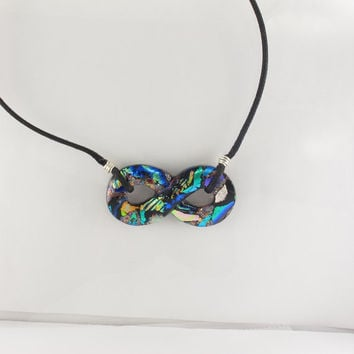 Dichroic Infinity Pendant, Dichroic Glass Infinity, Dichroic Jewelry, Infinity Necklace, Fused Glass Pendant