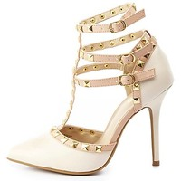 Studded Strappy Pointed Toe Pumps by Charlotte Russe - Stone