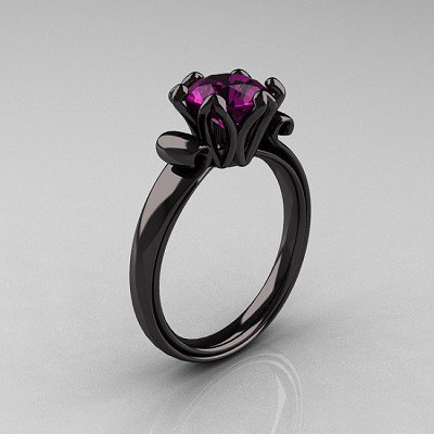 Antique 14K Black Gold 1.5 CT Amethyst Engagement Ring AR127-14KBGAM