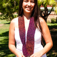 Handmade Crochet Scarf or Scarflette - Made for women or child - Neon Colors and Black - color blocked -ready to ship