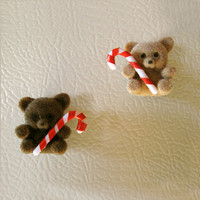 Miniature Teddy Bears with Candy Canes - Set of 2 Christmas Magnets