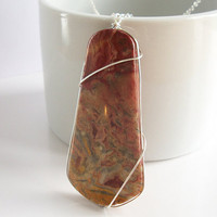 Yellow Agate Pendant, Crazy Lace Agate Pendant in Sterling Silver
