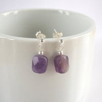 Amethyst Earrings, February Birthstone Earrings in Sterling Silver