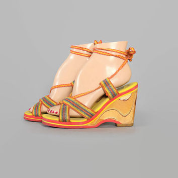70s RAINBOW Strappy PLATFORMS / Ankle Wrap Wood Sole WEDGES, 6
