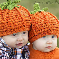 Baby Hat Pumpkin Hats Twin Pumpkin Hats Twin Set Two Textured Pumpkin Hats Newborn Baby Hats Halloween by JoJosBootique