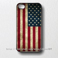 iphone 4 case, iphone 4s case, iphone case - Grunge USA Flag iphone 4 Case