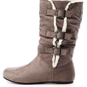 Faux Fur Trim Mid-Calf Boots by Charlotte Russe - Gray