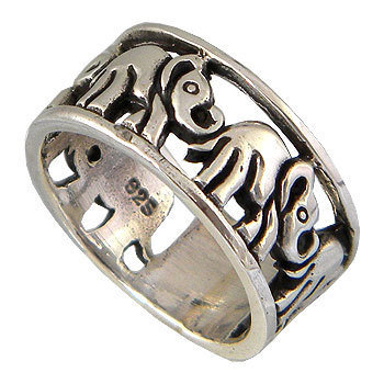 Elephant Sterling Silver Unisex Ring Fit the Finger from Teen to Adult
