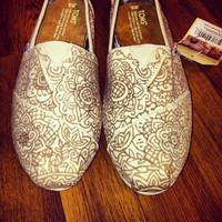 Custom Hand-Painted Toms in Brown on Tan Canvas
