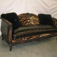 King Of The Jungle Room tiger and embossed leather Sofa