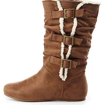 Faux Fur Trim Mid-Calf Boots by Charlotte Russe - Taupe