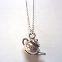 Teapot Necklace - Antique Silver Charm - Tea Party - Alice in Wonderland - Gift for Her