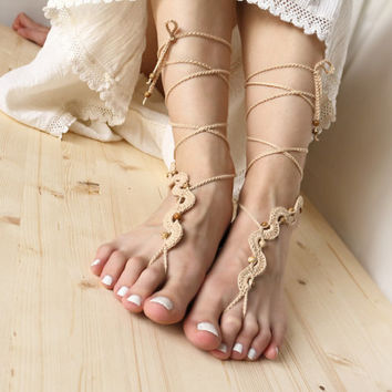 Tan Beaded Wedding Barefoot Sandles with Jasper, Dance Beach Sandals, Beige Nude Shoes, Hippie Yoga Anklet Jewelry, Bohemian Feet  Decor